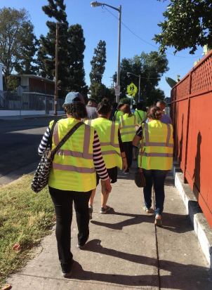 Participants on a walk audit at Florence-Firestone CPBST
