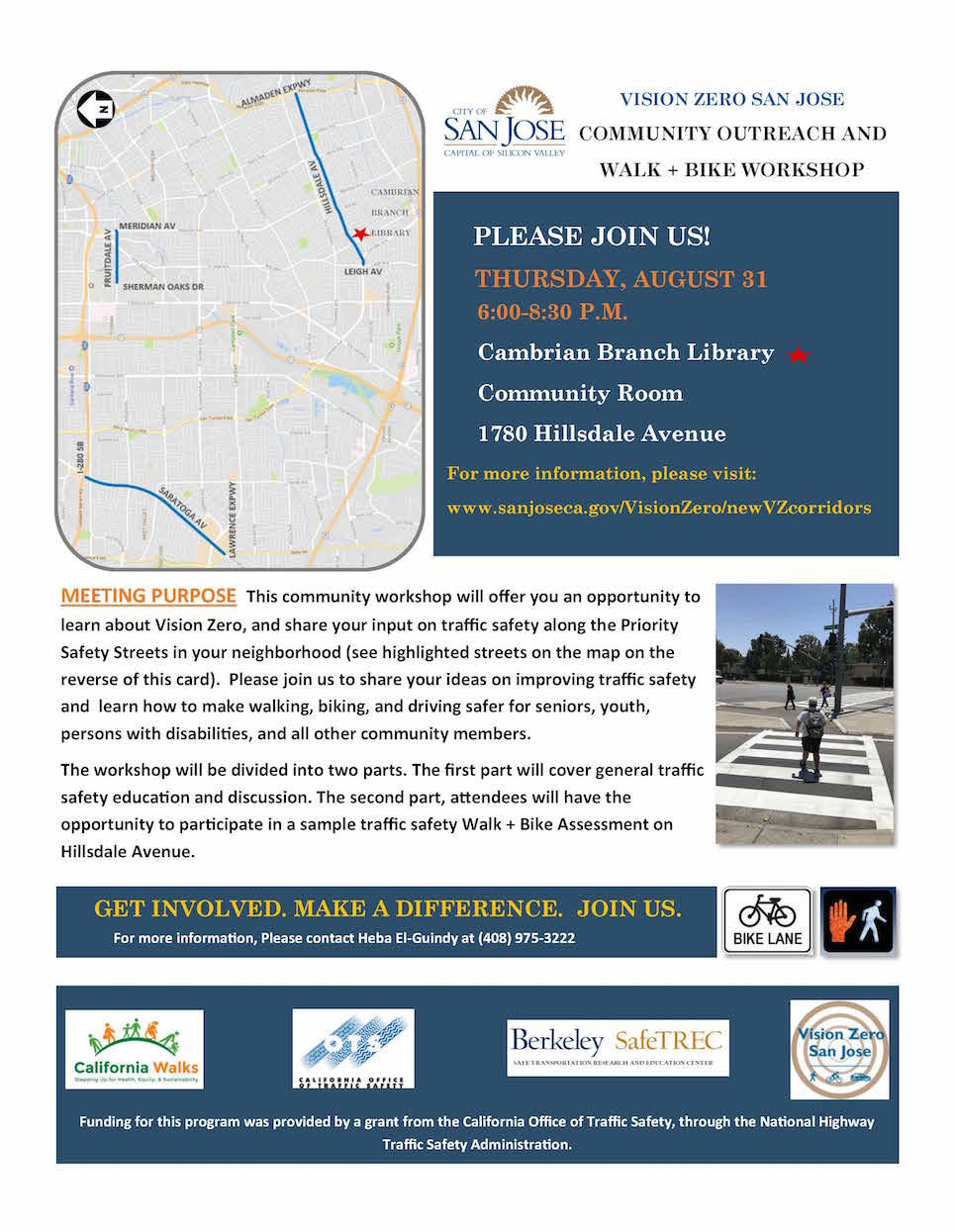 Vision Zero San Jose Community Outreach Workshop Flyer