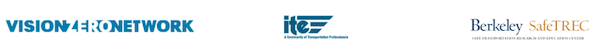 Logos of three sponsors of trainings, Vision Zero Network, ITE and SafeTREC