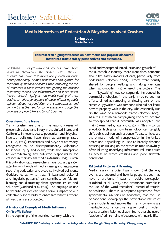 Page 1 of Media Narratives Research Highlight