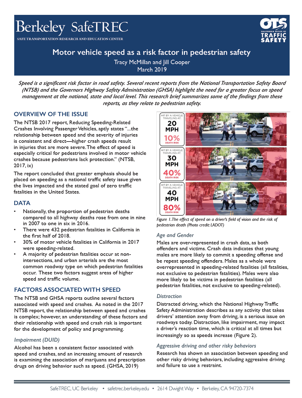 Page 1 of Motor Vehicle Speed research brief