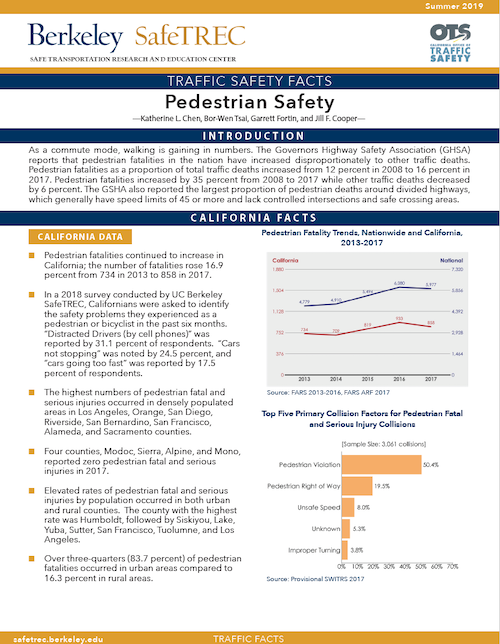 Page 1 of Pedestrian Safety Fact Sheet 2019