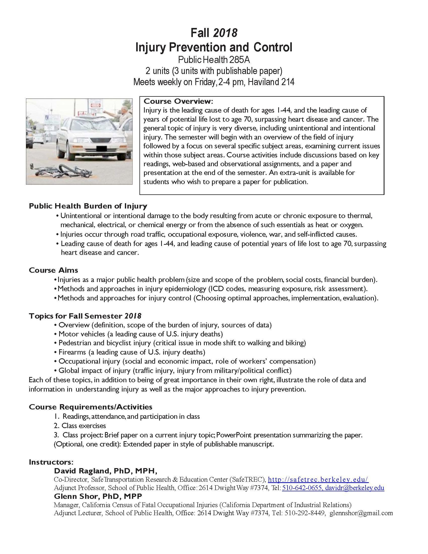 Fall 2018 Injury Prevention and Control Flyer