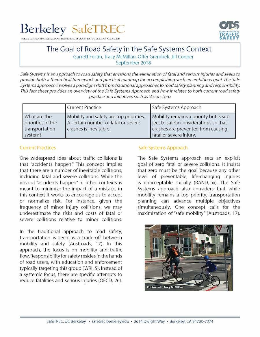 First page of Safe Systems Brief