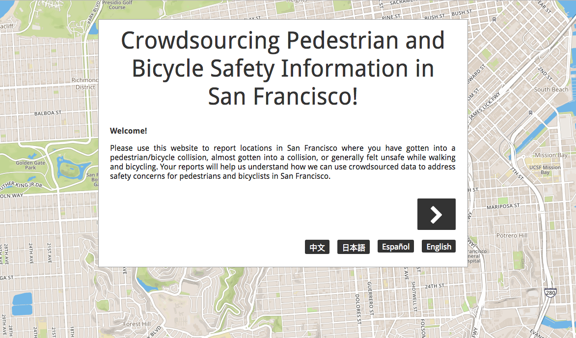 Crowdsourcing app on ped and bike