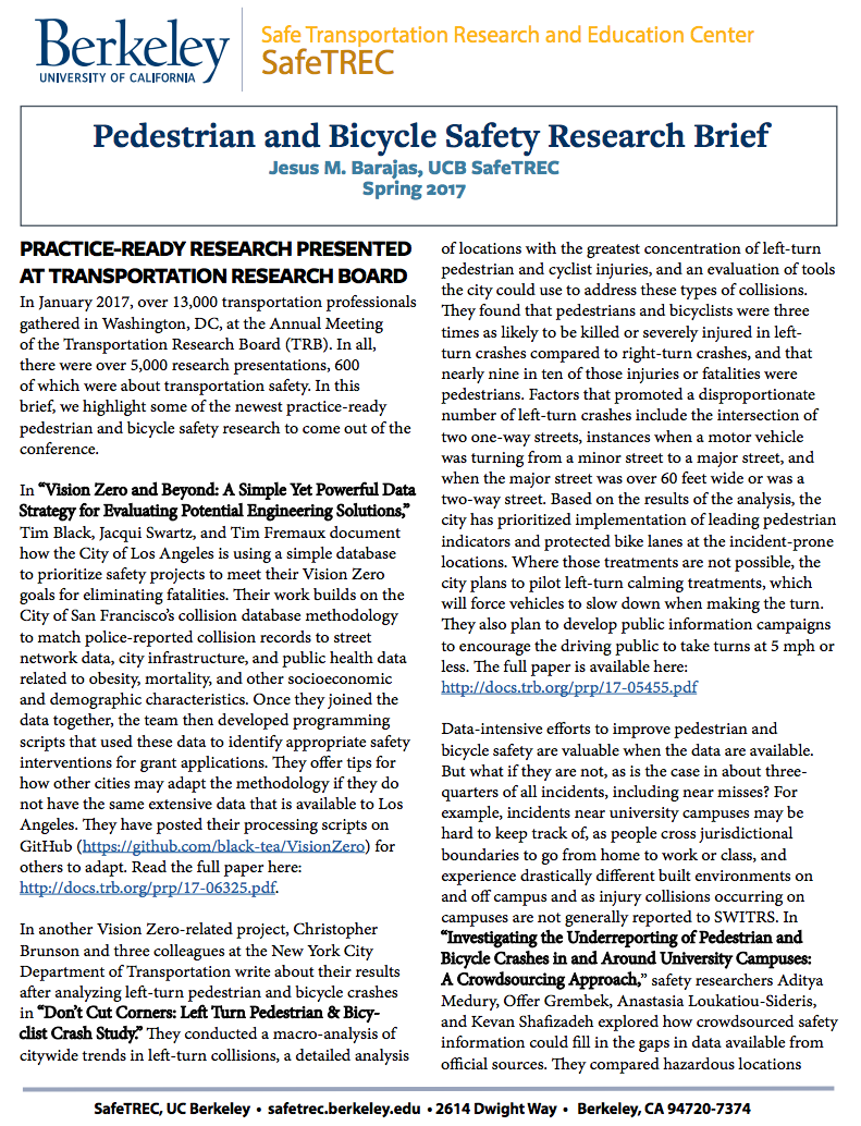 Pedestrian and Bicycle Safety Research Brief
