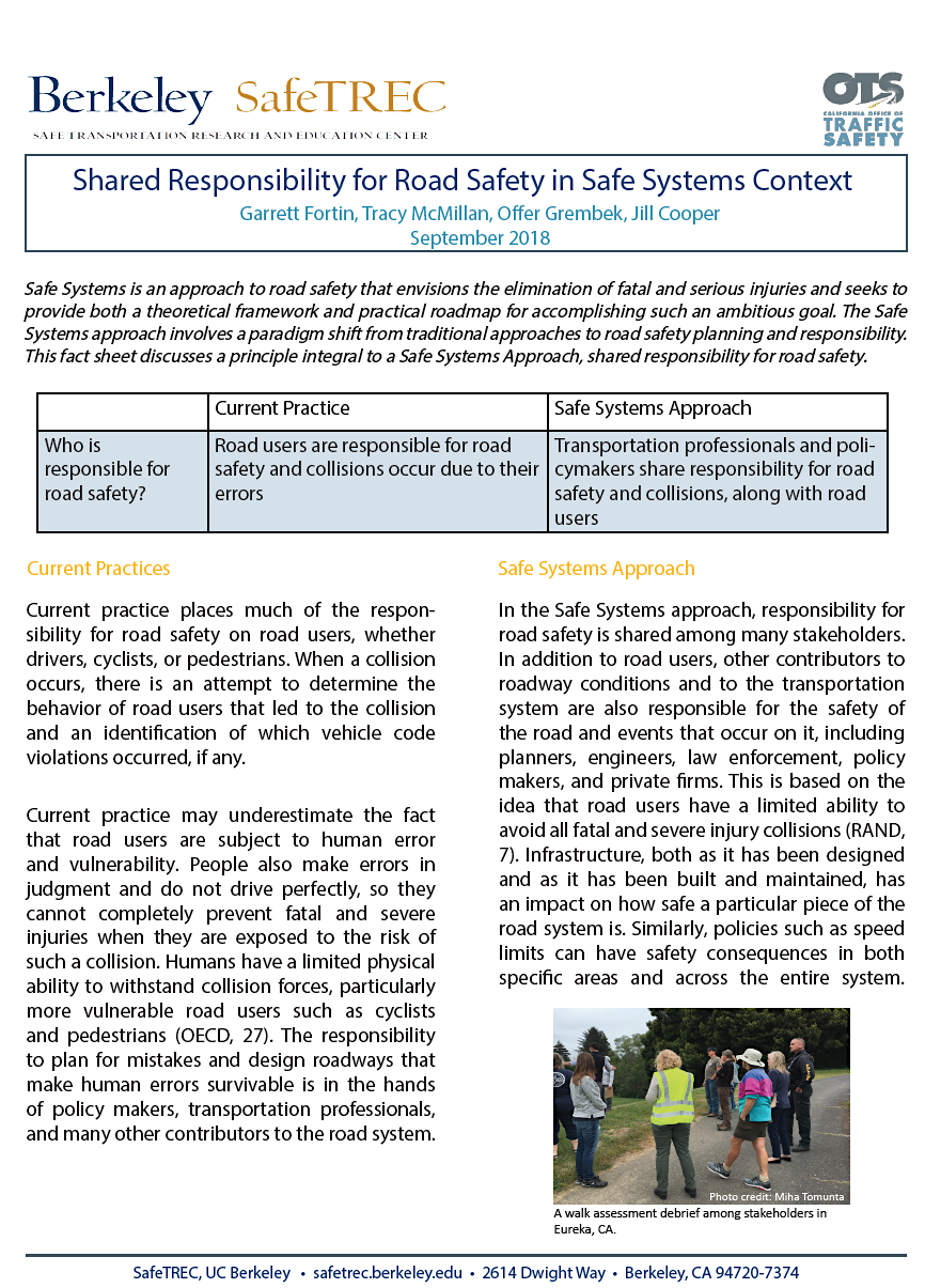 First page of new Safe Systems Research Brief