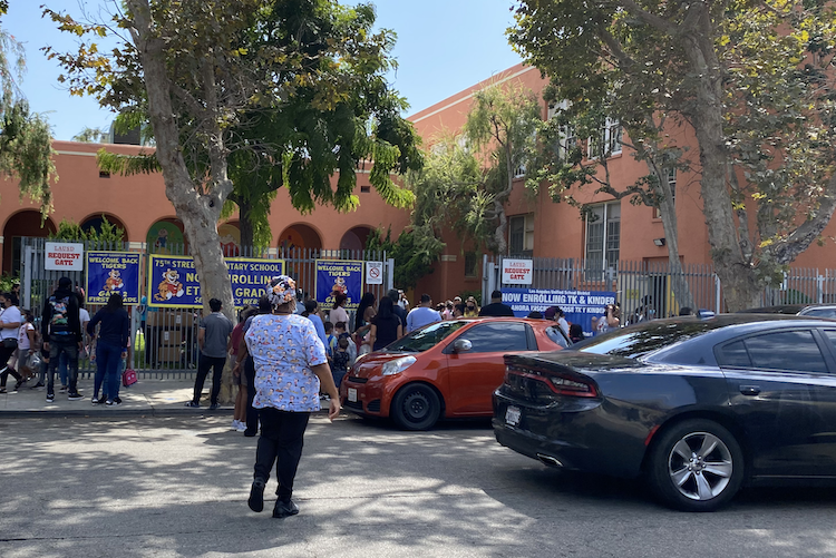 School pick up in front of the 75th Street Elementary School in South LA