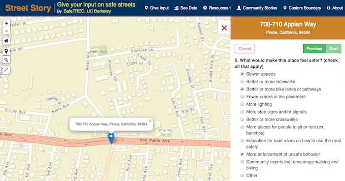 Street Story survey question about what would make location safer.