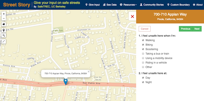 Street Story survey question about mode of traveling where feel unsafe