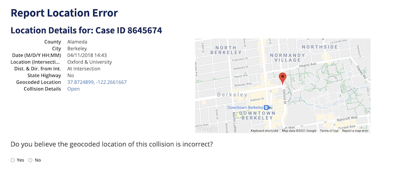 Screenshot of pop up window for reporting a location error at the Berkeley intersection