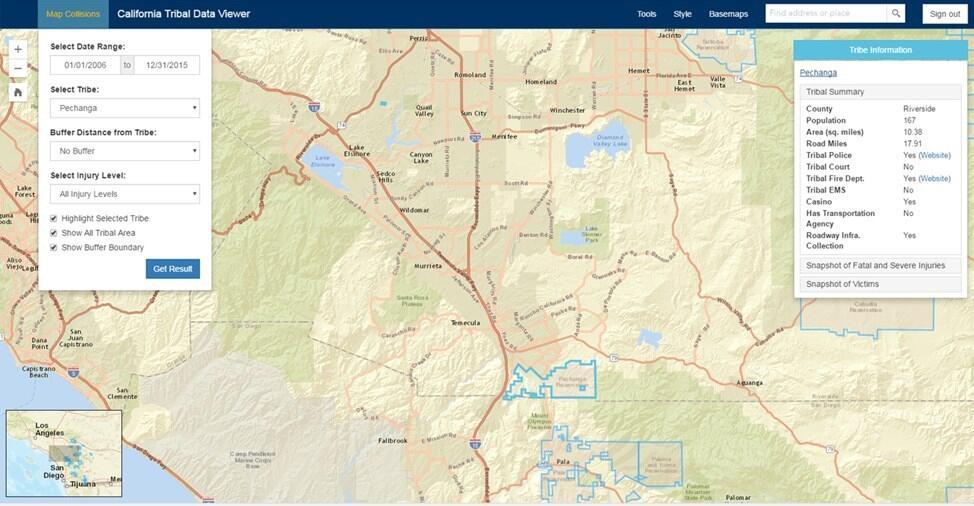 Screenshot of online data tool