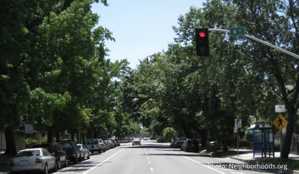 19th at N Looking South AFTER Road Diet - Midtown Sacramento