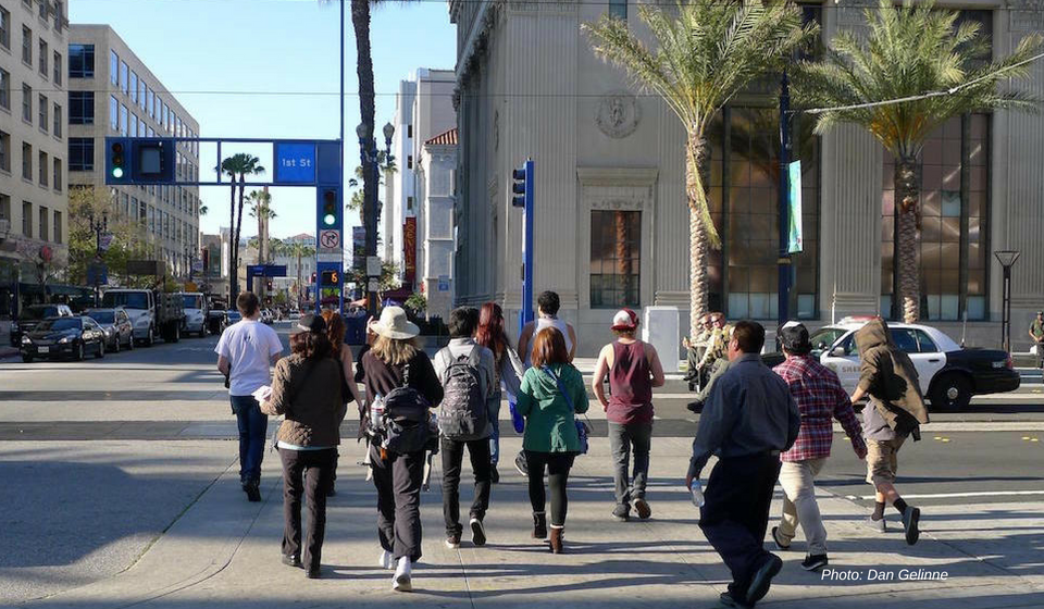 Pedestrians in crosswalk in San Francisco