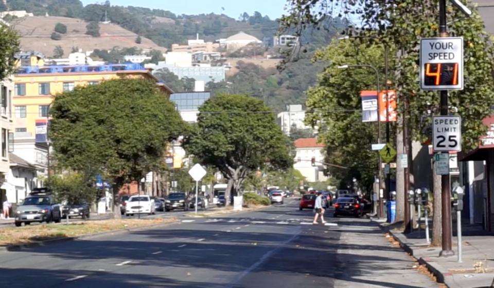 University Avenue in Berkeley with drivers speed