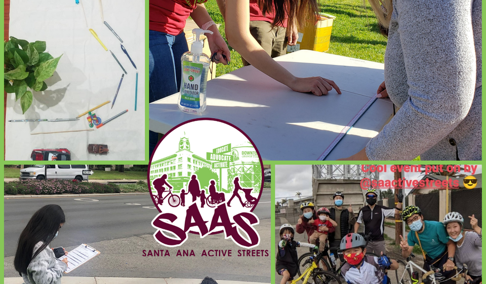 Collage showing community outreach events that SAAS did during COVID