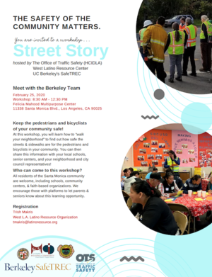 Street Story Flyer with image of participants in walk assessment and learning how to use paper version of Street Story.