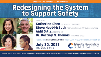 Promo for the Redesigning the System to Support Safety session with photos of panelists Katherine Chen, Steve Hoyt-McBeth, Aidil Ortiz, and Dr. Destiny N. Thomas