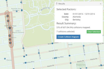 Image of collisions mapped for Berkeley, 1/1/2014-12/31/14