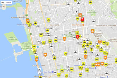 Motorcycle collision map of Berkeley