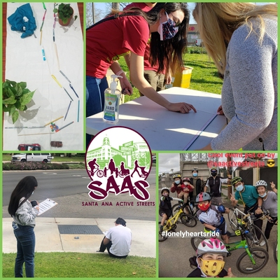 Collage of photos showing SAAS community outreach events like a walk audit, active streets event, and tabling with community members