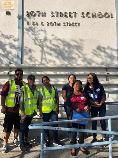 Parents at 20th Street Elementary School in South LA on their way back to the school to discuss their walking and biking assessment observations.