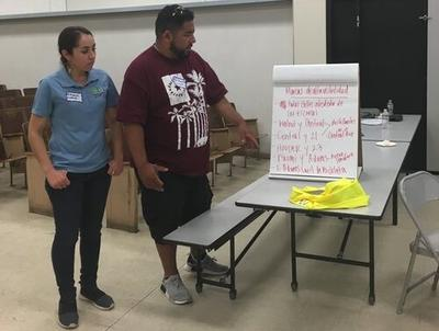 Maria Carmen Lopez and her husband share their plan for the installation of high-visibility markings with the rest of the group during the South LA CPBST.