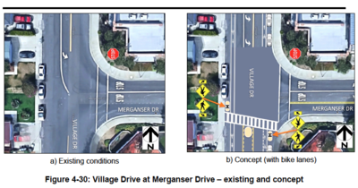Figure showing Village Drive at Merganser Drive with existing conditions and proposed concept suggestions